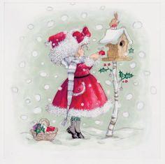 Annabel Spenceley - Snowy Gift Christmas Topper, Christmas Bird, Christmas Drawing, Christmas Scenes, Christmas Paintings, Christmas Pictures, Winter Christmas, Vintage Christmas, Christmas Crafts