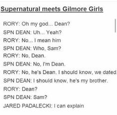 Gilmore girls and Spn Dean and Sam and Dean 😂 Supernatural Crossover, Supernatural Memes, Fangirl, Fandom Crossover, Girl Memes, Super Natural, Destiel, Superwholock, Family Business