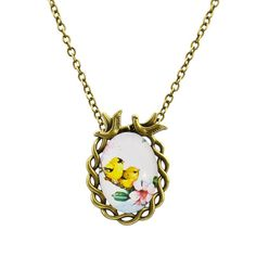 Summer Style Jewelry Vintage Antique Bronze Oval Flower Bird Alloy Pendant Necklace Glass Cabochon Statement Necklace3