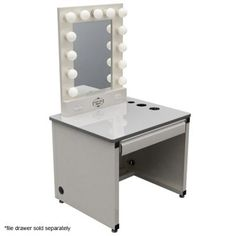 Vanity Mirror set with lights, even has a spot for hair dryer/flat iron/curling iron!