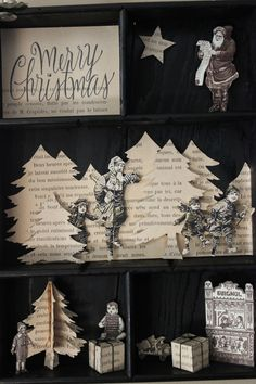 "Lovely recycled book ideas.  Perhaps use an old copy of ""A Christmas Carol""?"