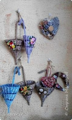 Поделка изделие Плетение Зонтики-ключницы Бумага газетная