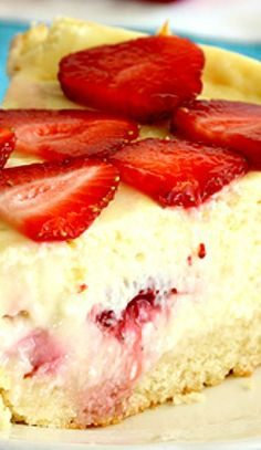 Strawberry Shortcake Cheesecake ~ with a sponge cake crust turns everyone's favorite strawberry shortcake into a refreshing dessert that can define summer with just one bite. http://papasteves.com/