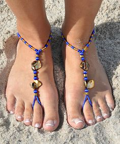Royal Blue Shell Barefoot Sandal