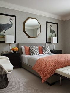 Bedroom modern contemporary beautyVery very cool  - love combined with zebra-like striped pillows! Grey & Persimmon Guest Bedroom |photo Kim Sargent | design Sloan Mauran | House & Home