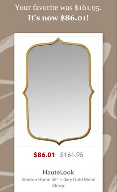 Sale! Metal Mirror, Gold