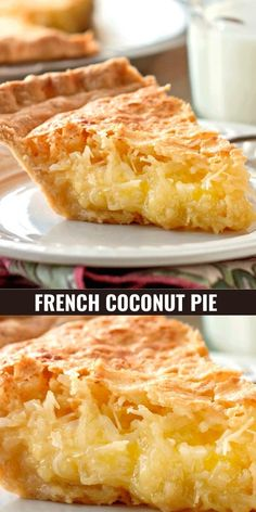 Coconut Desserts, Coconut Recipes, Easy Desserts, Baking Recipes, Delicious Desserts, Cake Recipes, Yummy Food, Easy Pie Recipes, French Coconut Pie