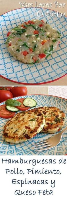 Hamburguesas de Pollo, Pimiento, Espinacas y Queso Feta: Bajas en grasa pero con un rico sabor mediterráneo. Puedes encontrarlas en www.muylocosporlacocina.com.