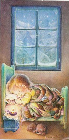 Esperando a Papá Noël - Lisi Martin / Ediciones Sabadell, Serie AVET 02.03.169.1, Díptica 16,5 x 8,5 cms
