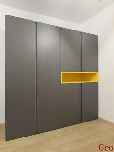 Dulap gri onix cu galben stralucitor Bed Room, Divider, Dressing, Exterior, House, Furniture, Home Decor, Dormitory, Decoration Home