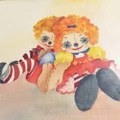 Raggedy Ann Andy Watercolor Painting Ellen Collier Framed Nursery Decor #Vintage
