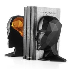 Karim Rashid design of bookend for MENU,  A truly unique one. Based on a 3D representation of his own head. The Stone Resin shape is then sliced in two with the brain showcased in a different colour, so it takes on a life of its own. available just a click away on The Loft Asia a luxorious lifestlye & furniture store at www.theloftasia.com