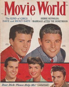 Ricky and David Nelson, Dick Clark, Debbie Reynolds and Elvis Presley on the November 1958 Movie World