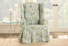Home Design and Decor , Decorative Chair Slipcover Ideas : Wingback Floral Chair Slipcover Ideas