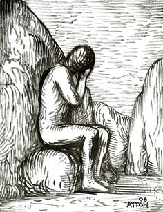 Melancholy Colossus, 2006, ink drawing by William T. Ayton.