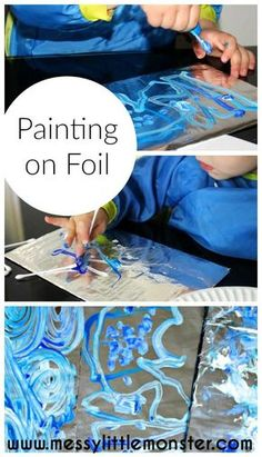 Painting On Foil – an easy art activity inspired by Van Gogh Painting on foil is a simple process art idea for kids. Inspired by Van Gogh's Starry night this activity works on fine motor skills and colour mixing for toddler and preschoolers. Projects For Kids, Kids Crafts, Toddler Art Projects, Winter Toddler Crafts, Kids Sports Crafts, Toddler Arts And Crafts, Baby Crafts, Diy And Crafts, Messy Art
