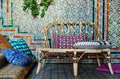 Bamboo bench and colourful cushions. Ikea Jassa collection by Piet Hein Eek.