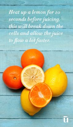 Heat up a lemon for 10 seconds before juicing, this will break down the cells and allow the juice to flow a lot faster. #LuvoTips #lemon
