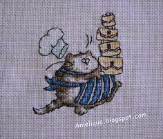 chef cat, cute, sweet, pie, cake, cross stitch