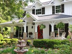 White house, Red Front Doors, Black shutters, exactly like our home! Want the red door and brick on columns Up House, House With Porch, House Front, House Design Photos, Cool House Designs, Big Front Porches, Porch Columns, Stone Columns, Black Shutters