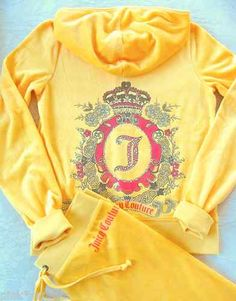 Juicy Couture Track Velour Garden Cameo Tracksuit Buttercup Yellow LOVE