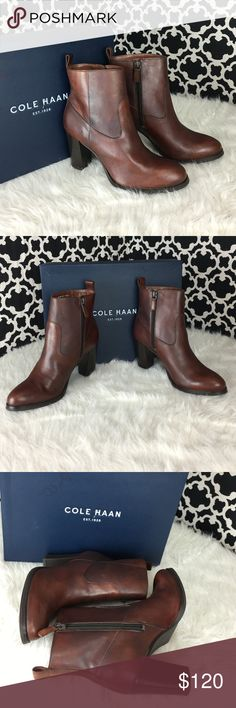 🆕LISTING Cole Haan Sequoia Leather Bootie #72 Cole Haans walkable heeled booties can be dressed up or down with all of falls most sensual styles, from a classic plaid mini and cozy tights to your go to distressed denim. Almond toe,  functional, inside zip, 3 1/2 heel, leather upper, rubber sole. Brand NEW IN BOX. 8-38-16 Cole Haan Shoes Heeled Boots