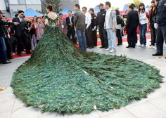 wedding dress, made of peacock feathers at a cost of 1.5 million dollars