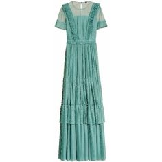burberry Ruffle Detail Floor-Length Dress ($3,295) ❤ liked on Polyvore featuring dresses, gowns, burberry, green dress, tiered dress, floor length gowns, tiered ruffle dress and floor length evening gowns
