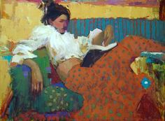 "✉ Biblio Beauties ✉ paintings of women reading letters books - Michael Steirnagle, ""summer read"" Painting People, Figure Painting, Painting & Drawing, Reading Art, Woman Reading, Figurative Kunst, Southwest Art, Magazine Art, Portrait Art"