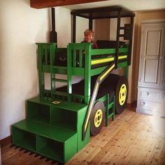 John Deere Tractor Bed for my sons room - made by Scott Olive 07919357538 woodworking John Deere Bedroom, Diy Kids Furniture, Bedroom Furniture, Kid Beds, Boy Bunk Beds, Room Themes, Boy Room, Kids Bedroom, Bedroom Ideas