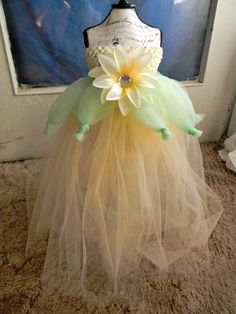 Homemade Princess Tiana Tulle Tutu.. Possible Halloween Costume Next Year..
