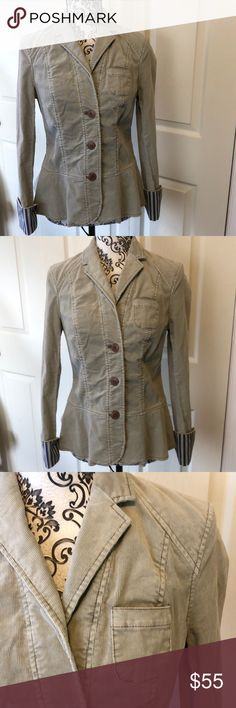 Anthro Piloro & the Letterman Blazer Jacket 4 Anthro Piloto & the Letterman Blazer Jacket 4  Adorable! Those striped cuffs! Three button front Great condition   See pictures for approx measurements   All reasonable offers accepted   48 227 3 Anthropologie Jackets & Coats Blazers