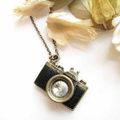 Antique Brass with Black Leather Embellished Camera Pendant Necklace