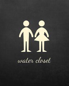 WC Water Closet Toilet Door Decal Sign 15 cm x 11 cm