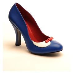 Smitten Two Tone Pump in Matte Blue from Pinup Couture Shoes ❤ liked on Polyvore