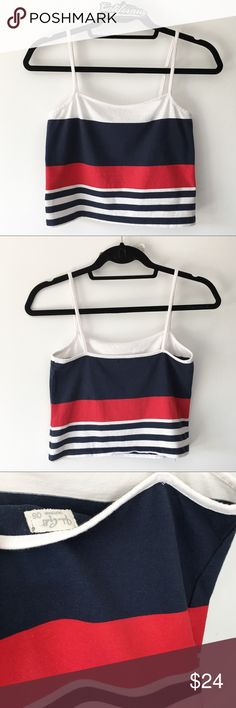 """NWOT rare striped Faye tank 17"""" length  Color: white, red and navy   Rating  Shop with confidence   Ship same day or next day  Free Brandy stickers with purchase   Bundle and save ⛔️ Trades ⛔️ Lowball offers Brandy Melville Tops Camisoles"""