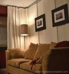 """Create a separate living room and bedroom by installing a ceiling track system with panels and curtains to make a """"wall"""" divider (IKEA KVARTAL system)"""