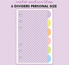 free printables plain dividers personal pocket size free printables and violets. Black Bedroom Furniture Sets. Home Design Ideas