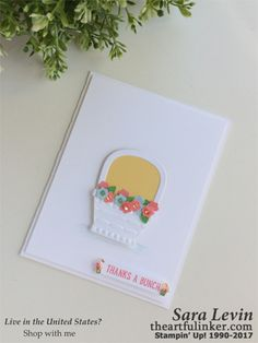 Sara Levin | theartfulinker.com Click the picture to see more of Sara's Designs. Handmade clean and simple, thank you card using Basket Bunch. cards, rubberstamps, cardmaking, stampinup, stamping, saralevin, theartfulinker