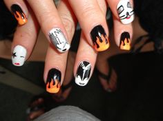 Kiss by Stoneycute1: liking these flames much better. Could pair w pink HD badge? nailartgallery.nailsmag.com by Nails Magazine www.nailsmag.com #nailart