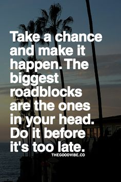 Take a chance and make it happen. The biggest roadblocks are the ones in your head. Do it before it's too late.