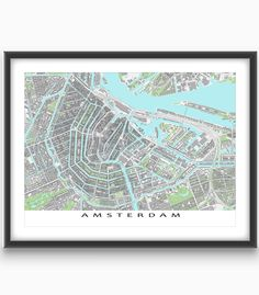 Going to Amsterdam, #Netherlands? Planning a trip? Or are you lucky enough to live there? Then this is the Amsterdam #map for you!  Find your favourite places on this #city map! This map print shows buildings. Buildings help you find attractions like the Rijksmuseum, #Amsterdam Centraal train station, the National Maritime Museum and more. #holland #europe