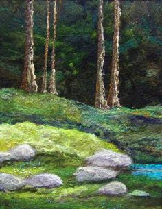 Deep Woods by Deebs Fiber Arts -- 11 x needlefelted wool on felt. Needle Felted, Nuno Felting, Felted Wool, Landscape Quilts, Landscape Art, Felt Pictures, Textile Fiber Art, Wool Art, Thread Painting