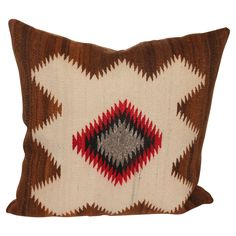 Early Navajo Indian Weaving Eye Dazzler Pillow | From a unique collection of antique and modern native american objects at https://www.1stdibs.com/furniture/folk-art/native-american-objects/