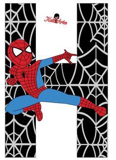 Oh my Alfabetos!: Alfabeto de Spiderman con Fondo Negro.