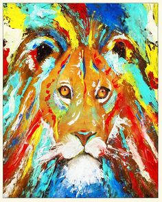 professional prints & posters of my original painting This print is of a very peaceful lion, surrounded by beautiful bright pops of turquoise, ocean blue, golden yellow, bright red. Sure to brighten up any space and bring in good vibes! Rasta Lion, Rasta Art, Iron Lion Zion, Rastafari Art, Lion Wall Art, Lion Poster, Original Art, Original Paintings, Animal Drawings