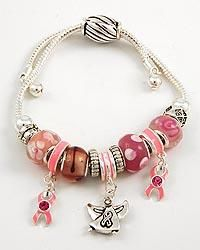 New Silver Tone Pink Cancer Awareness Glass Bead Charms