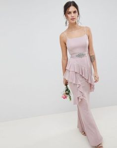 Shop ASOS DESIGN Ruffle Cami Maxi Dress With Embellished Belt. With a variety of delivery, payment and return options available, shopping with ASOS is easy and secure. Shop with ASOS today. Prom Party Dresses, Bridesmaid Dresses, Formal Dresses, Bridesmaids, Wedding Dresses, Blush Gown, Embellished Belt, Maid Of Honour Dresses, Bell Sleeve Dress