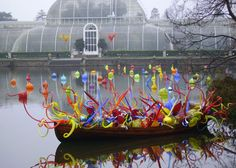 Arboretum in Seattle area featuring Dale Chihuly art.  I loved this place as a kid. *Update* I guess this is a conservatory in London, BUT it looks just like Volunteer Park in Seattle.