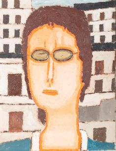 JERZY NOWOSIELSKI (1923 - 2011)  TWARZ, 1973   olej, płótno; / 35x27 cm
